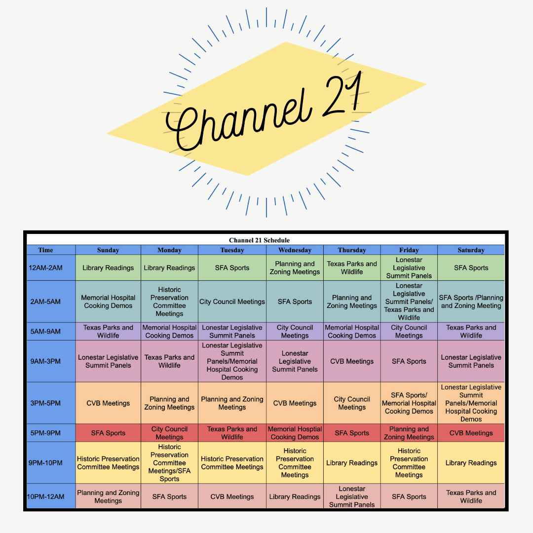 Channel 21 Weekly Schedule